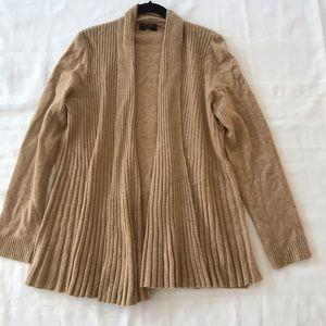 100% Cahmere Sweater Open Front Long Ribbed